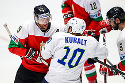 Andra Benk of Hungary vs Anze Kuralt of Slovenia during ice hockey match between Hunngary and Kazakhstan at IIHF World Championship DIV. I Group A Kazakhstan 2019, on May 3, 2019 in Barys Arena, Nur-Sultan, Kazakhstan. Photo by Matic Klansek Velej / Sportida
