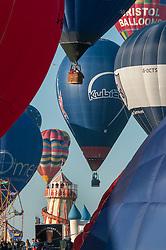 © Licensed to London News Pictures. 08/08/2015. Bristol, UK. Day 3 of the Bristol International Balloon Fiesta 2015.  Saturday morning mass flight of balloons.  Photo credit : Simon Chapman/LNP