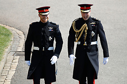 Prince Harry (left) and the Duke of Cambridge arrive at St George's Chapel in Windsor Castle for Harry's wedding to Meghan Markle.