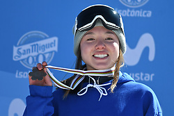 19.03.2017, Ski Stadium, Sierra Nevada, ESP, FIS Freestyle Ski and Snowboard WM, Sierra Nevada 2017, Slope Style Ski, im Bild Isabel Atkin (GBR) celebrates after winning the bronze medal following the Men's Slope Style Ski Final // Isabel Atkin (GBR) celebrates after winning the bronze medal following the Men's Slope Style Ski Final of the FIS Freestyle Ski & Snowboard World Championships 2017 at the Ski Stadium in Sierra Nevada, Spain on 2017/03/19. EXPA Pictures © 2017, PhotoCredit: EXPA/ Focus Images/ Kristian Kane<br /> <br /> *****ATTENTION - for AUT, GER, FRA, ITA, SUI, POL, CRO, SLO only*****