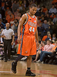 Virginia guard Sean Singletary (44) during the Duke game.  The Virginia Cavaliers men's basketball team fell to the #6 Duke Blue Devils 86-70 at the University of Virginia's John Paul Jones Arena in Charlottesville, VA on March 5, 2008.