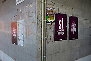 Catalonia Referendum Posters on Rambla del Cellar near the City Hall of Sant Cugat, Barcelona, Catalonia. The Spanish authorities have clamped down on the publishing of referendum materials by the Catalan independence movement, so ordinary people have started printing and distribution posters.