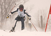 Traverse City Central's Clark Phelps during his second of two giant slalom runs in the 2010 Division I MHSAA State Ski Finals.