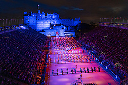 Edinburgh, Scotland, UK. 5 August, 2019.  The Royal Edinburgh Military Tattoo forms part of the Edinburgh International festival. Pictured; The Massed Military Bands on the Castle Esplanade at the finale of the Tattoo
