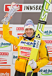 04.01.2012, Bergisel-Stadion, Innsbruck, AUT, 60. Vierschanzentournee, FIS Ski Sprung Weltcup, Podium, im Bild Andreas Kofler (AUT, 1. Platz) // Andreas Kofler of Austria first place on Podium of 60th Four-Hills-Tournament FIS World Cup Ski Jumping at Bergisel-Stadion, Innsbruck, Austria on 2012/01/04. EXPA Pictures © 2012, PhotoCredit: EXPA/ Peter Rinderer