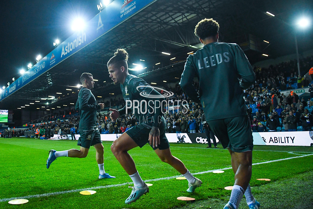 Leeds United midfielder Kalvin Phillips (23) warming up during the EFL Sky Bet Championship match between Leeds United and West Bromwich Albion at Elland Road, Leeds, England on 1 October 2019.