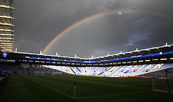 General view of a rainbow over the King Power Stadium, home of Leicester City, before the match  - Mandatory byline: Jack Phillips/JMP - 07966386802 - 22/09/2015 - SPORT - FOOTBALL - Leicester - King Power Stadium - Leicester City v West Ham United - Capital One Cup Round 3