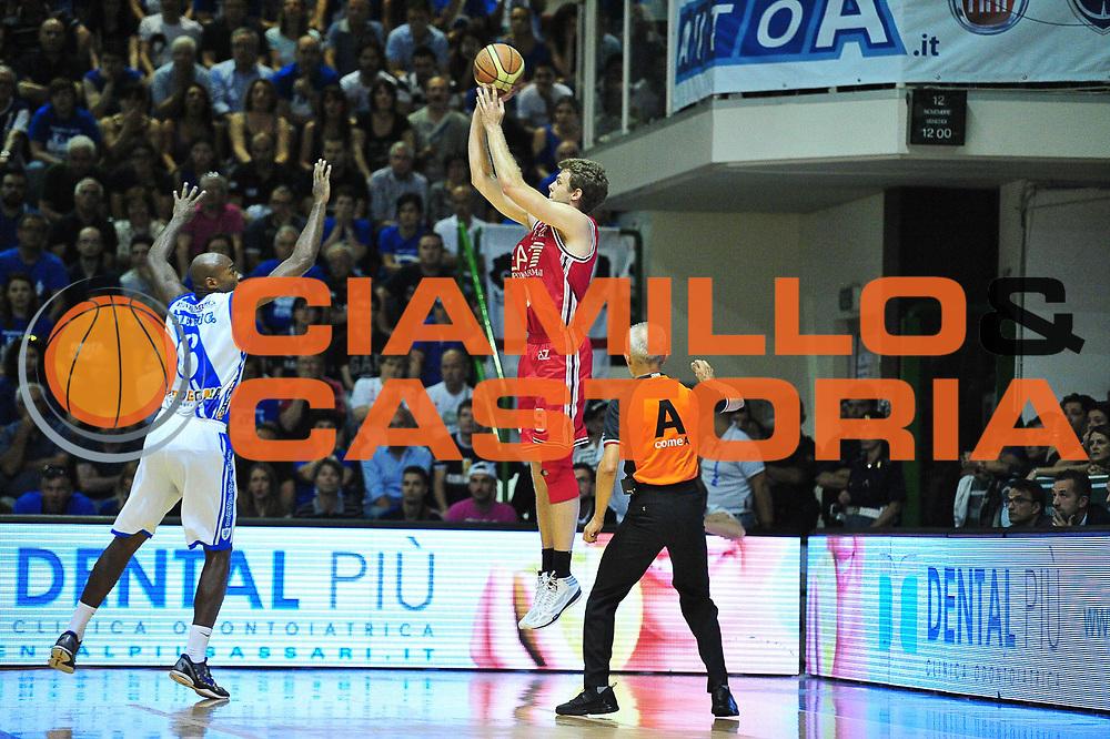 DESCRIZIONE : Campionato 2013/14 Semifinale GARA 6 Dinamo Banco di Sardegna Sassari - Olimpia EA7 Emporio Armani Milano<br /> GIOCATORE : Nicolo' Melli<br /> CATEGORIA : Tiro Tre Punti Controcampo<br /> SQUADRA : Olimpia EA7 Emporio Armani Milano<br /> EVENTO : LegaBasket Serie A Beko Playoff 2013/2014<br /> GARA : Dinamo Banco di Sardegna Sassari - Olimpia EA7 Emporio Armani Milano<br /> DATA : 09/06/2014<br /> SPORT : Pallacanestro <br /> AUTORE : Agenzia Ciamillo-Castoria / M.Turrini<br /> Galleria : LegaBasket Serie A Beko Playoff 2013/2014<br /> Fotonotizia : DESCRIZIONE : Campionato 2013/14 Semifinale GARA 6 Dinamo Banco di Sardegna Sassari - Olimpia EA7 Emporio Armani Milano<br /> Predefinita :