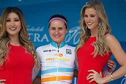 Megan Guarnier (USA) of Boels-Dolmans Cycling Team wears the UCI Women's World Tour leader's jersey after the fourth, 70 km road race stage of the Amgen Tour of California - a stage race in California, United States on May 22, 2016 in Sacramento, CA.