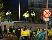 Gardai  removing the occupy Galway protest  from Eyre Square Galway. Photo:Andrew Downes
