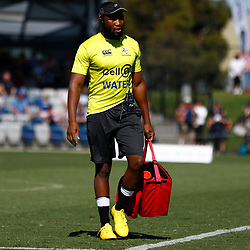 Lukhanyo Am (captain) of the Cell C Sharks during the super rugby match between the Melbourne Rebels and the Cell C Sharks at the  Mars Stadium,Ballarat,Western suburbs of Melbourne,Victoria, Australia, 22,020,2020 (Photo Steve Haag /HollywoodBets)