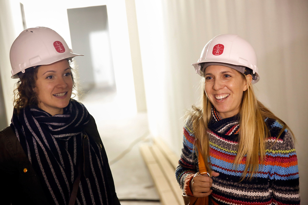 Venti Hristova of K &amp; V Bake and Leah Ferrazzani of Semolina Artisanal Pasta, speak about their kitchen units under construction at L.A. Prep on Friday, December 5, 2014 in Los Angeles, Calif.<br /> CREDIT: Patrick T. Fallon for The Wall Street Journal<br /> Assignment ID: 35818 Slug: FOODSTARTUPS<br /> Story Summary:<br /> There have been a growing number of food-industry startups in recent years in California as demand grows for locally-sourced food. But scaling up a small food business can be challenging in the face of complex regulations and big food retailers&rsquo; production standards. A first-of-its-kind &quot;food incubator&quot; where small food companies will soon be working alongside each other as they try to grow together. The &ldquo;incubator&rdquo; space, L.A. Prep, will allow small-scale producers to share administration and overhead costs. Currently, Semolina Artisanal Pasta is made in the home kitchen of Leah Ferrazzani