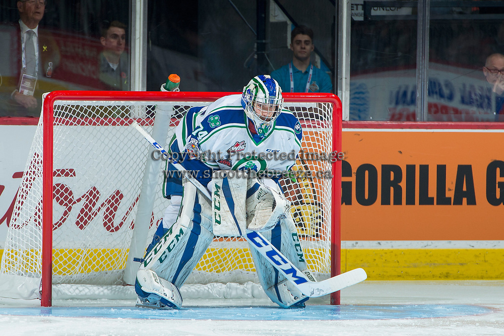 REGINA, SK - MAY 19: Stuart Skinner #74 of Swift Current Broncos stands in net against the Acadie-Bathurst Titan at the Brandt Centre on May 19, 2018 in Regina, Canada. (Photo by Marissa Baecker/CHL Images)