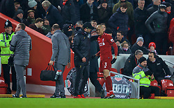 LIVERPOOL, ENGLAND - Saturday, January 19, 2019: Liverpool's Fabio Henrique Tavares 'Fabinho' speaks with manager Jürgen Klopp after being substituted with an injury during the FA Premier League match between Liverpool FC and Crystal Palace FC at Anfield. (Pic by David Rawcliffe/Propaganda)