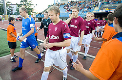 Milan Osterc of Gorica and Jukka Vanninen of Lahti before 1st football match of 2nd preliminary Round of UEFA Europe League between ND Gorica and FC Lahti, on July 16 2009, in Nova Gorica, Slovenia. (Photo by Vid Ponikvar / Sportida)