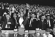 Enthusiastic supports cheering during the All Ireland Senior Gaelic Football Final Kerry v Down in Croke Park on the 22nd September 1968. Down 2-12 Kerry 1-13.