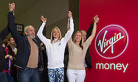 Paula Radcliffe UK opens the Virgin Marathon London Marathon Expo 2015 posing with the first runners queuing to register to receive their bibs.<br /> <br /> L to R<br /> Vick Oliver (with beard)<br /> Paula Radcliffe<br /> Sally Thomson (Blond)<br /> Joey Keegan (crew cut hair)<br /> <br /> Virgin Money London Marathon 2015<br /> <br /> <br /> Photo: Bob Martin for Virgin Money London Marathon<br /> <br /> This photograph is supplied free to use by London Marathon/Virgin Money.