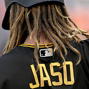 NEW YORK, NEW YORK - June 15: John Jaso #28 of the Pittsburgh Pirates preparing to bat during the Pittsburgh Pirates Vs New York Mets regular season MLB game at Citi Field on June 15, 2016 in New York City. (Photo by Tim Clayton/Corbis via Getty Images)