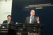 AUCTIONEER HARRY DALMENY, First Editions, Second thoughts. Charity sale to benefit English PEN of 50 first editions which have been revisited, annotated and illustrated by their authors, and  sold to raise funds for the charity. Sothebys. Bond St. London. 21 May 2013.