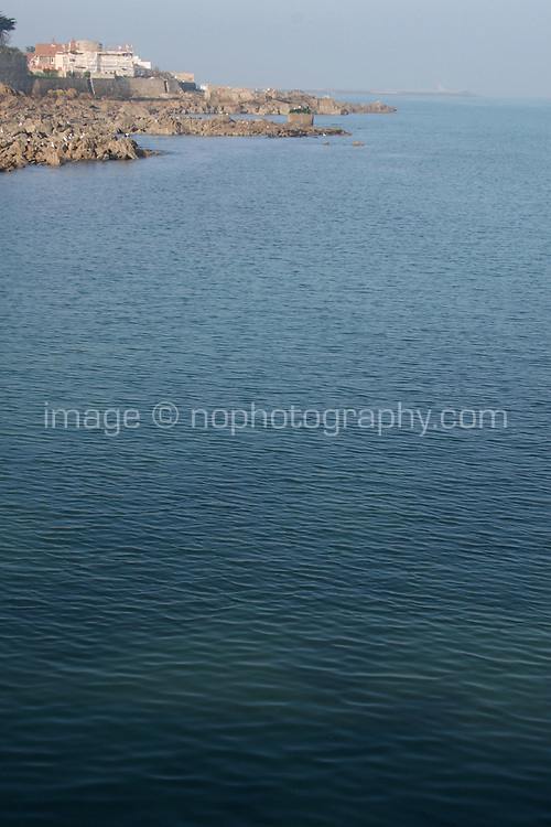 View from Bulloch Harbour towards sandycove nad Dun Laoghaire in Dublin Ireland