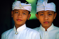 Balinese boys at a school show, Peliatan, Bali, Indonesia