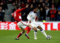 Jason Denayer of Sunderland takes on Marten de Roon of Middlesbrough - Mandatory by-line: Robbie Stephenson/JMP - 26/04/2017 - FOOTBALL - Riverside Stadium - Middlesbrough, England - Middlesbrough v Sunderland - Premier League