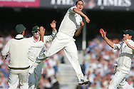© SPORTZPICS / Seconds Left Images 2009  - Mitchell Johnson leaps in the air to celebrate the key wicket of Andrew Freddie Flintoff out for 7 caught Brad Haddin -   England v Australia - The Ashes 2009 - 5th npower Test  Match - Day 1 - 20/08/09 - The Brit Oval - London -  UK - All Rights Reserved