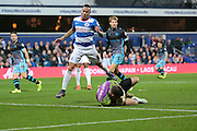Sheffield Wednesday goalkeeper Keiren Westwood makes a save during the Sky Bet Championship match between Queens Park Rangers and Sheffield Wednesday at the Loftus Road Stadium, London, England on 20 October 2015. Photo by Jemma Phillips.