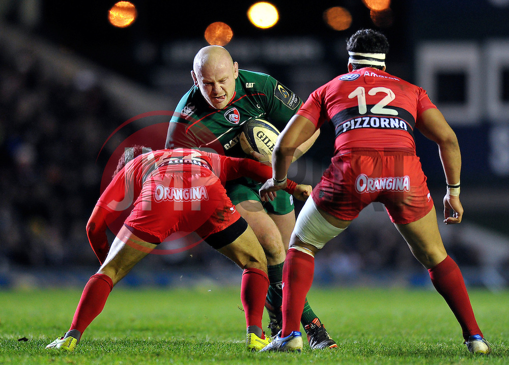 Dan Cole of Leicester Tigers takes on the Toulon defence - Photo mandatory by-line: Patrick Khachfe/JMP - Mobile: 07966 386802 07/12/2014 - SPORT - RUGBY UNION - Leicester - Welford Road - Leicester Tigers v Toulon - European Rugby Champions Cup