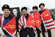 Demonstrators wearing Russian costumes during the Women's March on Washington in protest to President Donald Trump January 21, 2017 in Washington, DC. More than 500,000 people crammed the National Mall in a peaceful and festival rally in a rebuke of the new president.