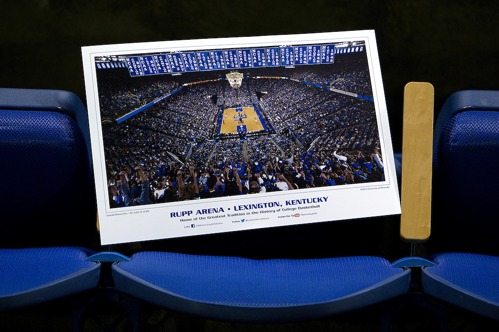 UK Athletics gave away posters with a photo that shows the 8 banners for each of UK's National Championships. ESPN Gameday taped a broadcast from Rupp Arena before the Missouri vs. Kentucky game, Saturday, Feb. 23, 2013 in Lexington.