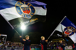 Guard of Honour mascots wave Bath Rugby flags prior to kick off - Mandatory byline: Patrick Khachfe/JMP - 07966 386802 - 05/10/2018 - RUGBY UNION - The Recreation Ground - London, England - Bath Rugby v Exeter Chiefs - Gallagher Premiership Rugby