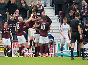 Hearts&rsquo; Callum Paterson is congratulated after scoring the opening goal - Hearts v Dundee, Ladbrokes Scottish Premiership at Tynecastle, Edinburgh. Photo: David Young<br /> <br />  - &copy; David Young - www.davidyoungphoto.co.uk - email: davidyoungphoto@gmail.com