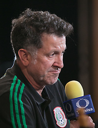 May 25, 2018 - Los Angeles, California, U.S - Coach, Juan Carlos Osorio of Mexico's World Cup squad responds to questions from journalists during Mexico Media Day on Friday May 25, 2018 in Beverly Hills, California ahead a pre-World Cup soccer friendly against Wales in Pasadena on May 28. (Credit Image: © Prensa Internacional via ZUMA Wire)