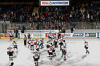KELOWNA, CANADA - DECEMBER 29:  The Kelowna Rockets  celebrate the 2-1 win over the Kamloops Blazers on December 29, 2018 at Prospera Place in Kelowna, British Columbia, Canada.  (Photo by Marissa Baecker/Shoot the Breeze)