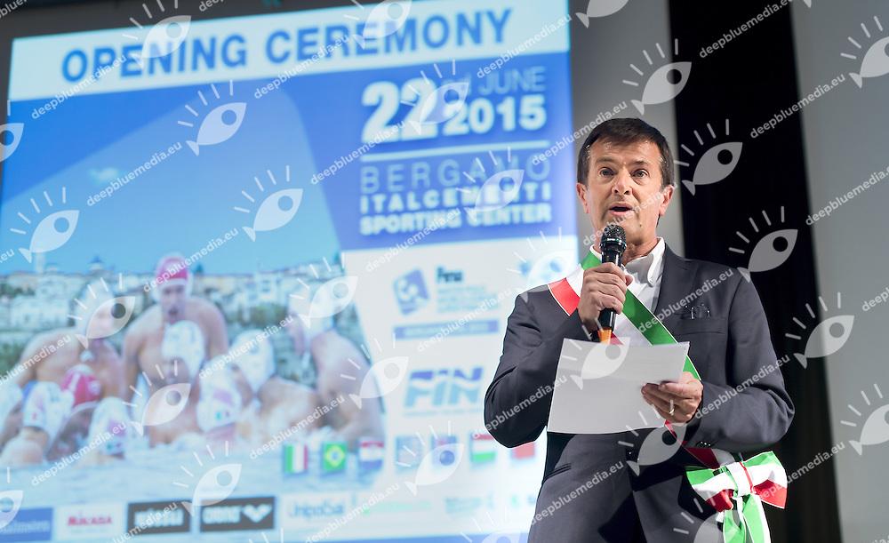 Giorgio Gori Mayor Bergamo<br /> Opening Ceremony<br /> day 00 - 22/06/2015<br /> FINA Water Polo World League Superfinal Men<br /> Bergamo (ITA) 23-28 June 2015<br /> Photo G.Scala/Deepbluemedia