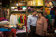 SLUG: JOINT  New York City, New York - July 29, 2016:   Purushottam Goyal, left, and Saroj Goyal at the Dress Shoppe II, an Indian textiles store in East Village. The pair have been married for 46 years. They've been running the shop for 38 years.  Credit: Santiago Mejia/The New York Times  30193507A                               NYTCREDIT: Santiago Mejia/The New York Times