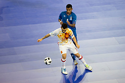 Alex of Spain and Fineo Araujo of Azerbaijan during futsal match between National teams of Ukraine and Portugal at Day 6 of UEFA Futsal EURO 2018, on February 4, 2018 in Arena Stozice, Ljubljana, Slovenia. Photo by Urban Urbanc / Sportida