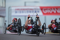 LONDON UK 29TH JULY 2016:  Dan Hopwood. Prudential RideLondon Elite Handcycle Grand Prix at the London Velo Park. Prudential RideLondon in London 29th July 2016<br /> <br /> Photo: Jed Leicester/Silverhub for Prudential RideLondon<br /> <br /> Prudential RideLondon is the world&rsquo;s greatest festival of cycling, involving 95,000+ cyclists &ndash; from Olympic champions to a free family fun ride - riding in events over closed roads in London and Surrey over the weekend of 29th to 31st July 2016. <br /> <br /> See www.PrudentialRideLondon.co.uk for more.<br /> <br /> For further information: media@londonmarathonevents.co.uk