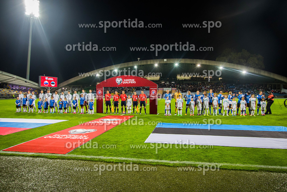 Players at start ceremony of the EURO 2016 Qualifier Group E match between Slovenia and Estonia at Ljudski vrt on September 8, 2015 in Maribor, Slovenia. Photo by Ziga Zupan / Sportida