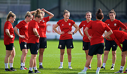 NEWPORT, WALES - Friday, October 5, 2018: Wales' Josie Green and team-mates during a training session at Dragon Park. (Pic by David Rawcliffe/Propaganda)