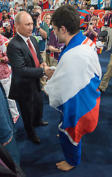 Russian President Vladimir Putin meeting Tagir Khaibulaev at  the  Judo at the London 2012 Olympics , Thursday 2nd August 2012  Photo by: i-Images