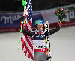 11.02.2013, Planai, Schladming, AUT, FIS Weltmeisterschaften Ski Alpin, Super Kombination, Slalom, Herren, Siegerpraesentation, im Bild Ted Ligety (USA, 1. Platz) // Ted Ligety of United States of America 1st place, Winners Presentation, after teir runs at Mens Super Combined Slalom at the FIS Ski World Championships 2013 at the Planai Course, Schladming, Austria on 2013/02/11. EXPA Pictures © 2013, PhotoCredit: EXPA/ Sammy Minkoff