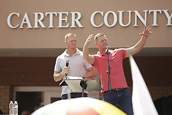 The Benham Brothers David and Jason speak to a crowd of supporters after Rowan County Clerk Kim Davis was released from the Carter County Detention center, Tuesday, Sept. 08, 2015 at Carter County Detention Center in Grayson. <br /> <br /> Photo by Jonathan Palmer, Special to the CJ