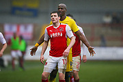 Fleetwood Town Forward Bobby Grant (11) and AFC Wimbledon forward Tom Elliott (9) await for the delivery  during the EFL Sky Bet League 1 match between Fleetwood Town and AFC Wimbledon at the Highbury Stadium, Fleetwood, England on 18 March 2017. Photo by Simon Davies.