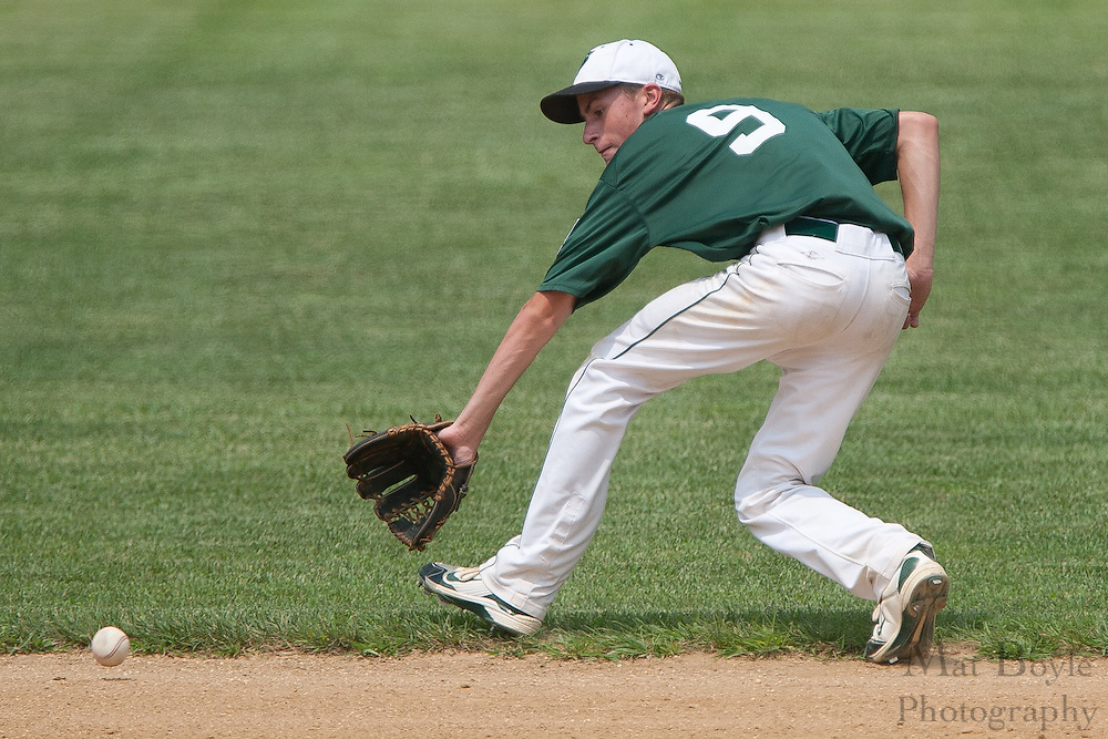 West Deptford's Chris Dillaquilla fields a ground ball during a elimination bracket game of the Eastern Regional Senior League tournament held in West Deptford on Sunday, August 7.