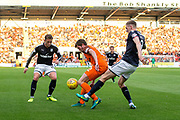 Dundee United midfielder Sam Stanton (#12) tries to retain possession under pressure from Dundee defender Kevin Holt (#3) during the Betfred Scottish Cup match between Dundee and Dundee United at Dens Park, Dundee, Scotland on 9 August 2017. Photo by Craig Doyle.