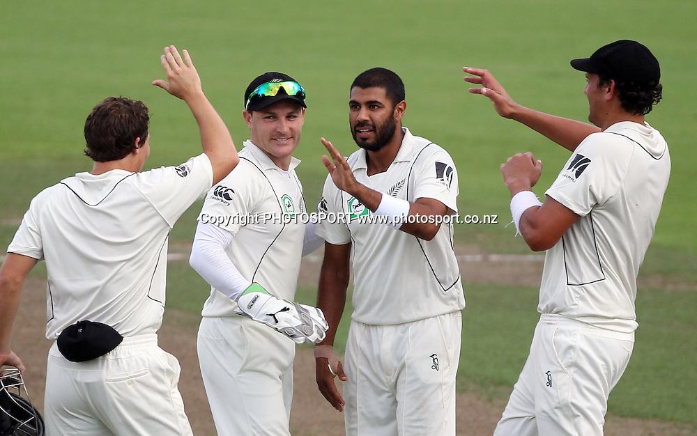 Brendon McCullum celebrates with Jeetan Patel after Patel's direct hit to dismiss Aftab Ahmed.<br />Day 4. Test match cricket. One off test.<br />New Zealand Black Caps versus Bangladesh.<br />Seddon Park, Hamilton, New Zealand.<br />Thursday 18 February 2010.<br />Photo: Andrew Cornaga/PHOTOSPORT