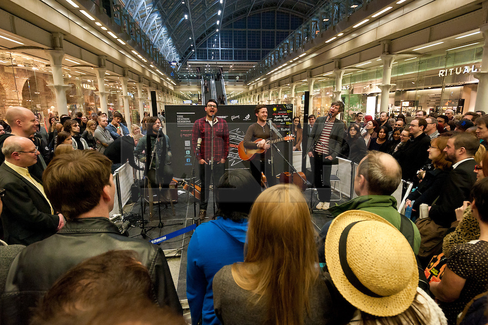 "© Licensed to London News Pictures. 22/03/2012. London, UK. St Pancras International's music festival  ""Station Sessions"" launches with The Futureheads headlining the opening night.  It will run for 6 weeks over 4 stages and featuring 100 performances.  Photo credit : Richard Isaac/LNP"