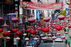 View down Grant Avenue near Clay Street of Chinatown, San Francisco, California.